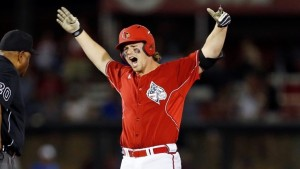 Senior 1B/3B Danny Rosenbaum has reason to celebrate, as his Louisville Cardinals are projected as the #1 overall national seed for the 2016 NCAA Division I Baseball Tournament (photo courtesy of gocards.com)